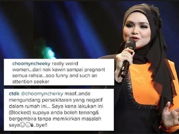 PANAS! Datuk Siti Nurhaliza Bidas Komen Pengkritik Di Instagram