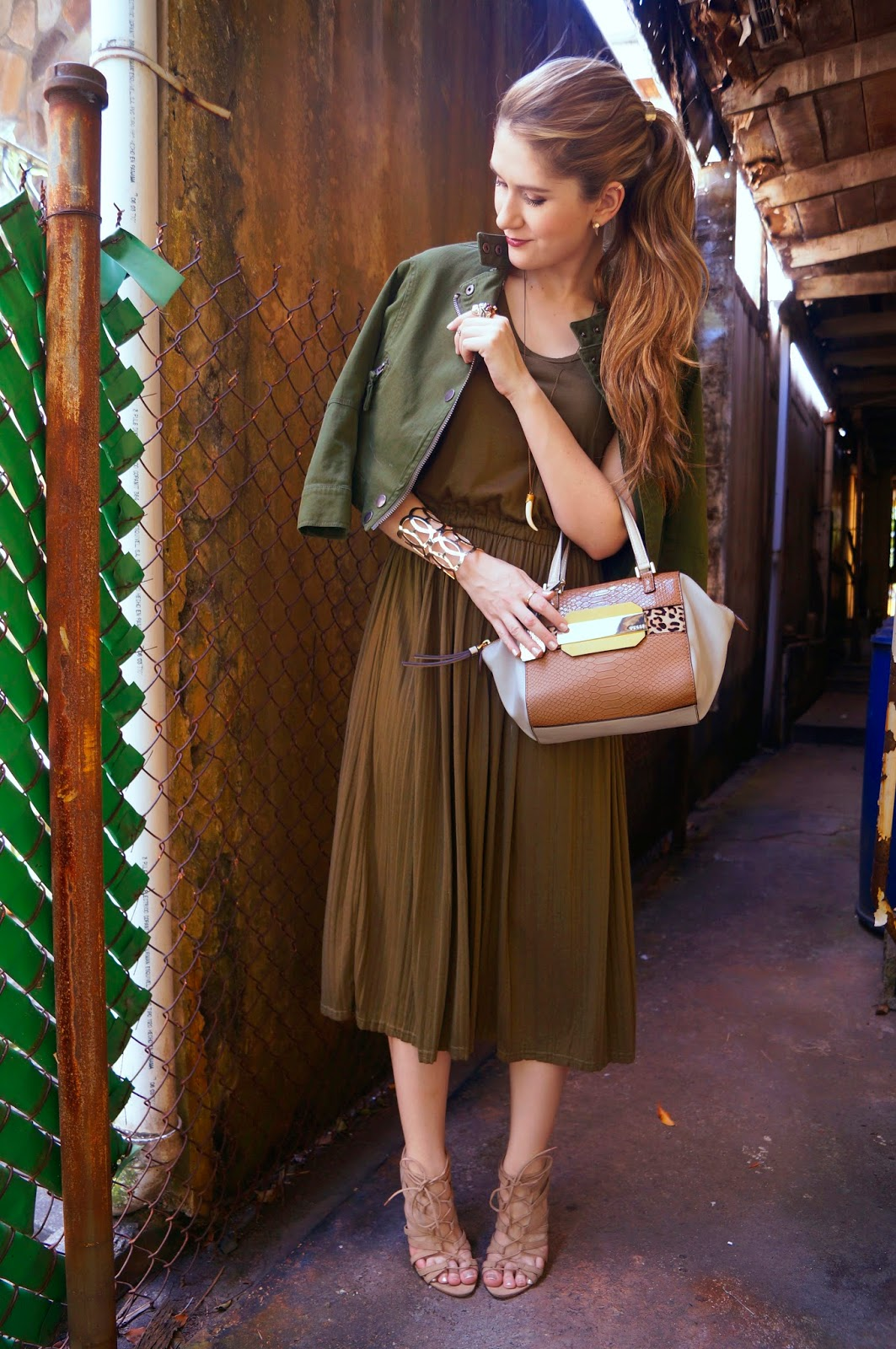 Olive Green Outfit, with a touch of leopard!