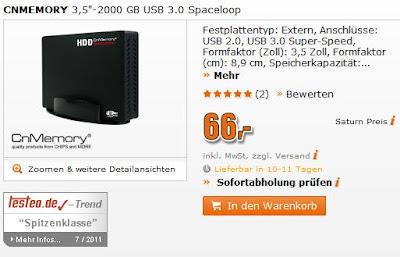 Externe Festplatte CnMemory 3.5 Spaceloop 2TB bei Saturn für 66 Euro