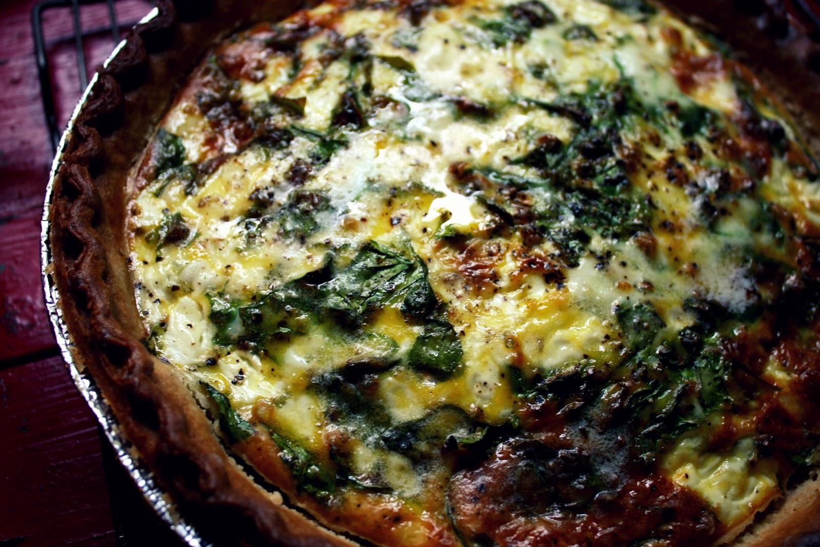 we eat. happy.: portobello mushroom & spinach quiche.