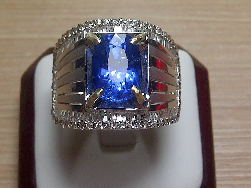 5,03ct NATURAL SIM ROYAL BLUE SAPPHIRE MENS RING