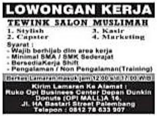 Loker TEWINK SALON MUSLIMAH Palembang