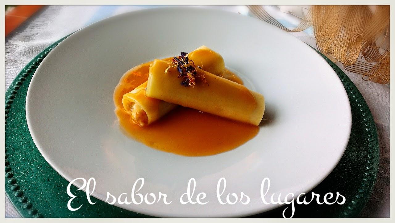 Canelones rellenos de setas y langostinos en salsa de marisco for Canelones de pescado y marisco