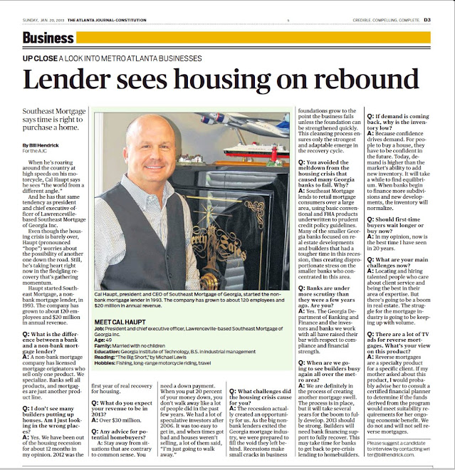 AJC - Lender sees housing on rebound - Cal Haupt - 1/20/2013