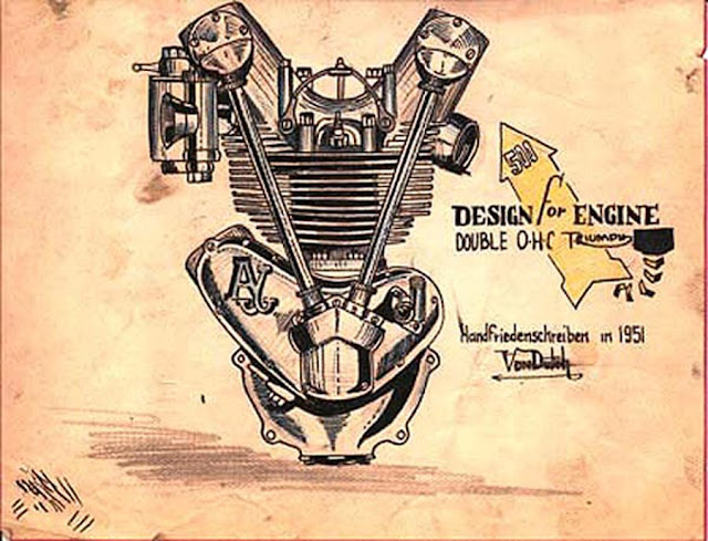 MOTORCYCLE ENGINE DESIGNS HAND SKETCHES BY  VON DUTCH