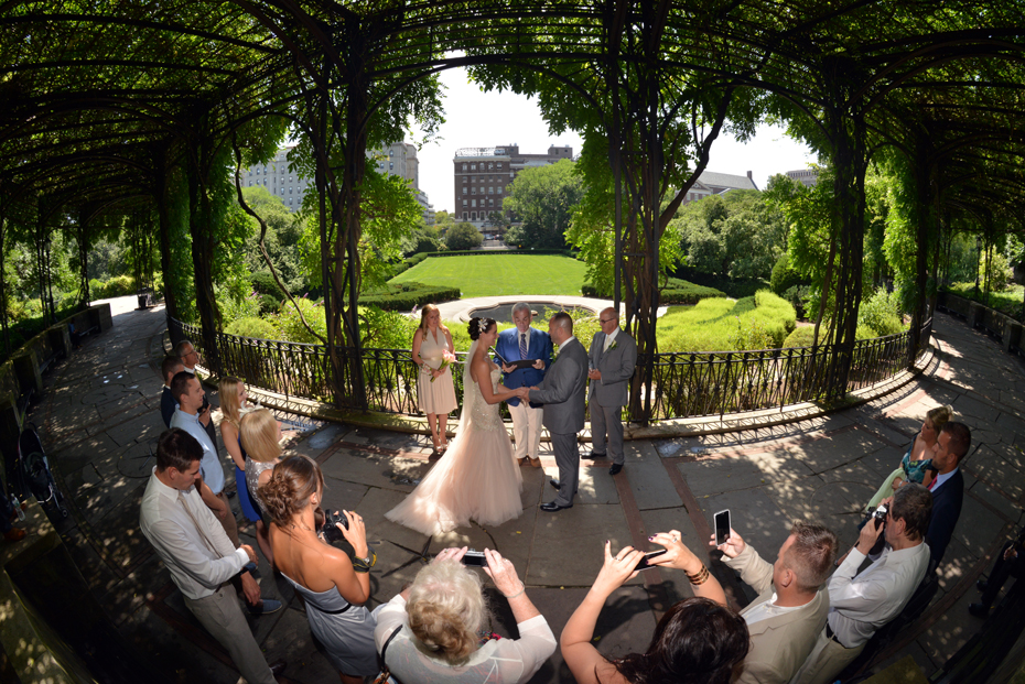 Wisteria Pergola ceremony wide angle fish eye