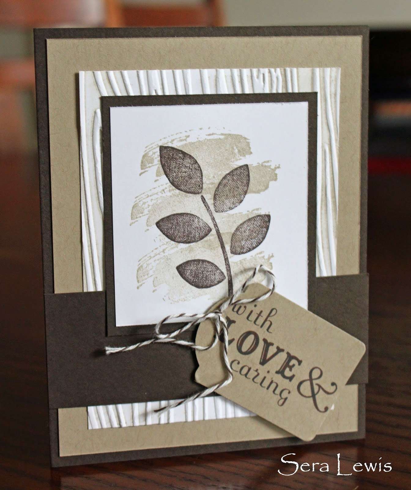 Inked woodgrain embossing folder in a sympathy card