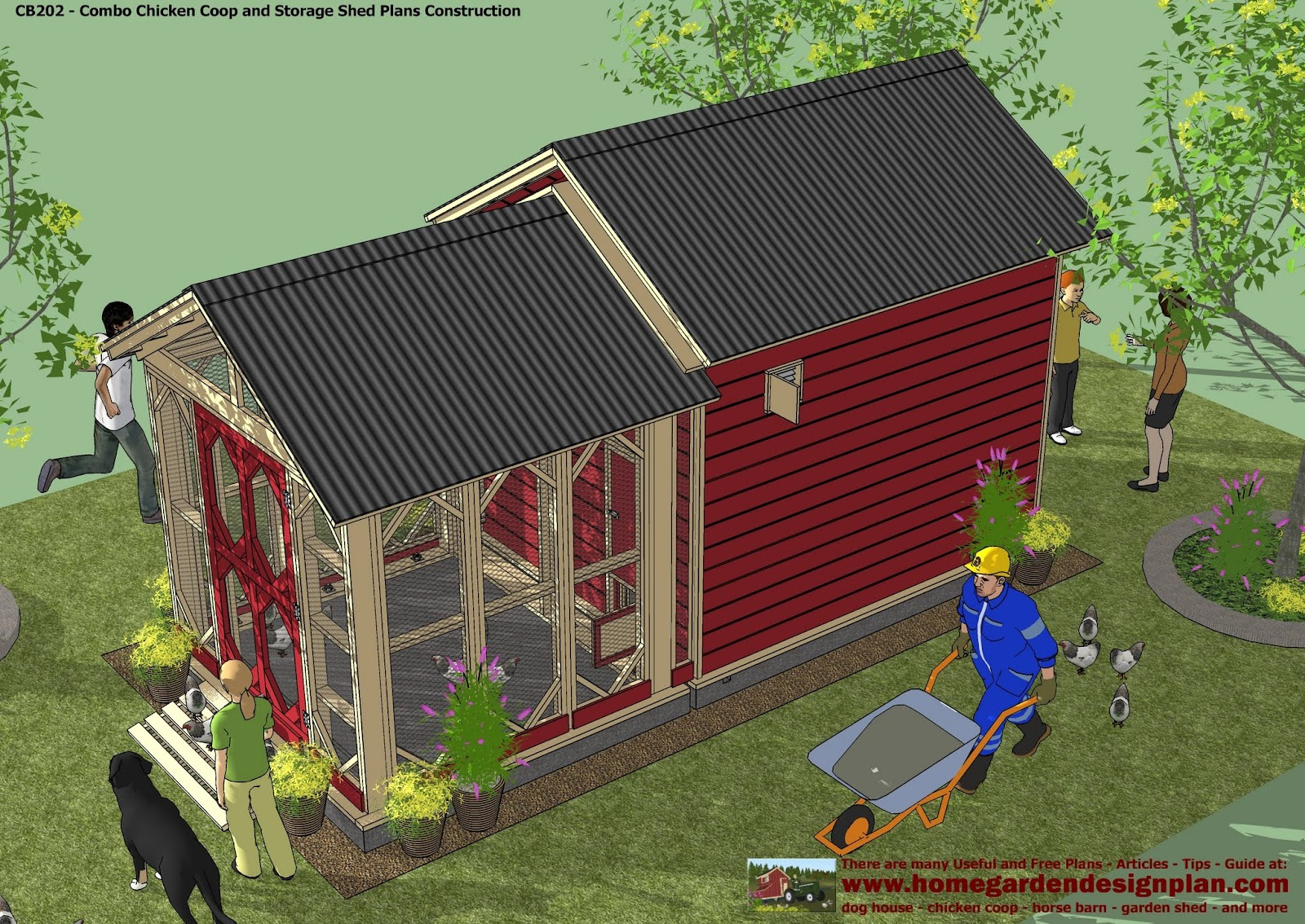 For Chick Coop Cb202 Combo Plans Chicken Coop Plans