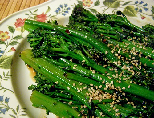 Closeup of Broccolini and Sesame Seeds