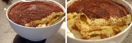 Een ronde kom tiramisu van Jeroen Meus bestrooid met flink wat cacaopoeder
