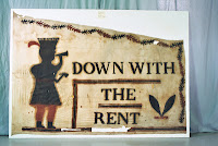 Down with the Rent anti-rent sign, New York State, Art conservation, textiles