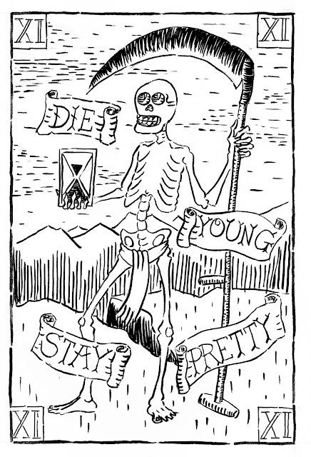 die young stay pretty tarot logo skeleton death scythe