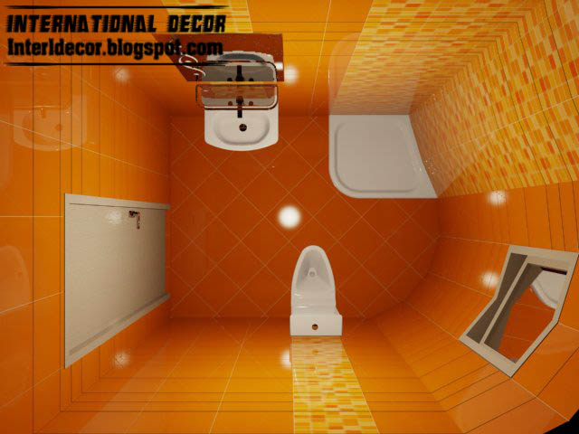 3d Tiles Design For Small Bathroom Design Ideas, Orange Ceramic Tiles For  Small Bathroom