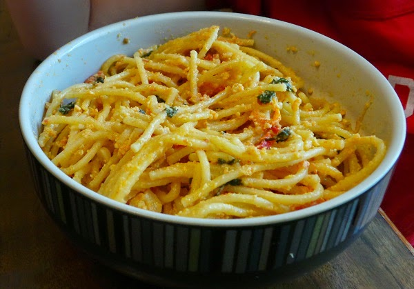 ... easily substitute leftover pre-cooked pasta instead of fresh made