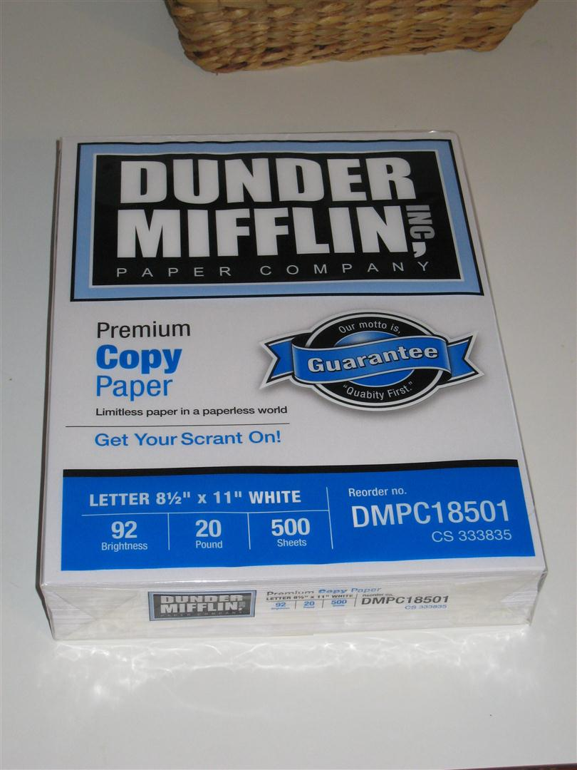 dunder mifflin copy paper When it comes to paper for my printer, i generally just buy whatever is cheapest there was no reason for me to to worry about the brand, because they all seemed about the same however, now there is dunder mifflin copy paper, a brand that any fan of the tv series the office will recognize sure it.