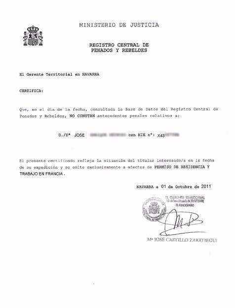 Periodo de validez del Certificado de Antecedentes Penales