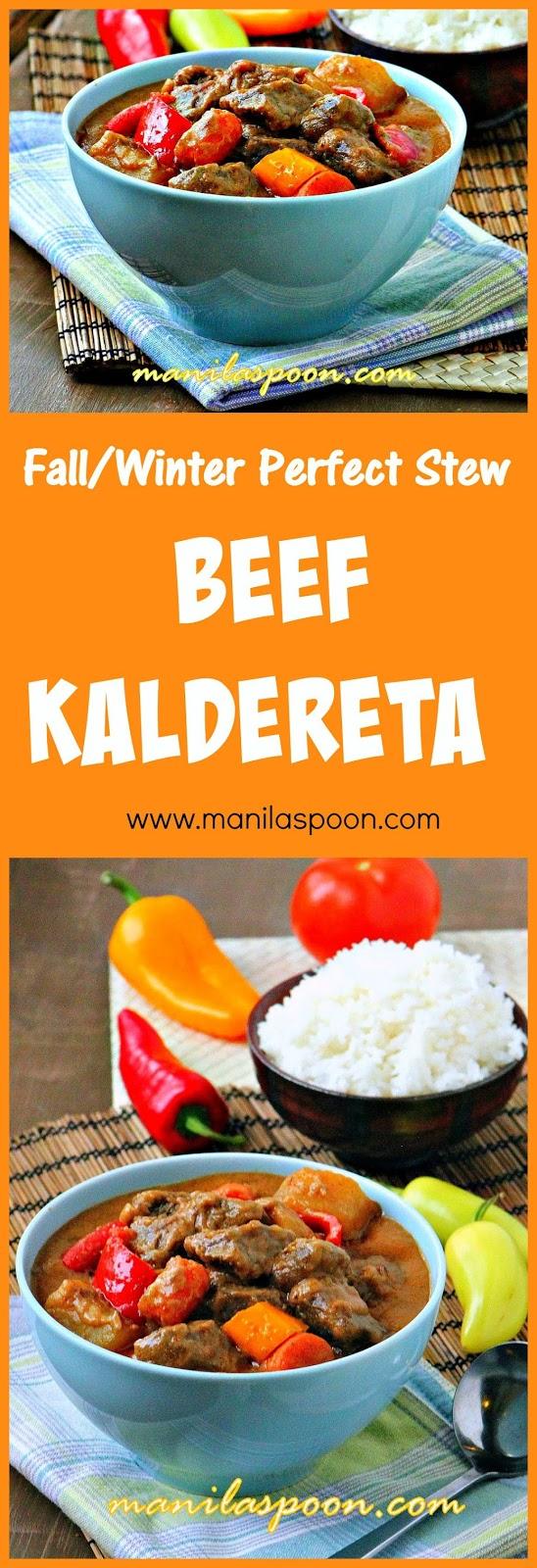 Creamy, nutty, spicy and delicious! This tasty beef stew is comfort food at its best - BEEF KALDERETA #caldereta #kaldereta