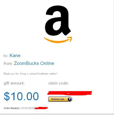Zoombucks payment proof, amazon gift card