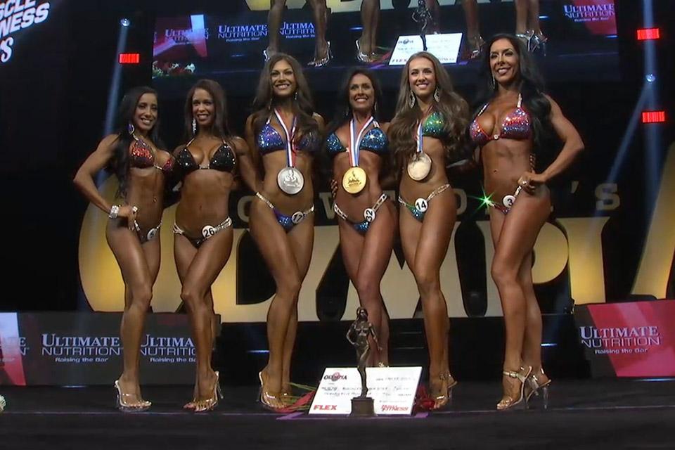 Pódio da categoria Bikini Olympia 2015. Foto: Reprodução