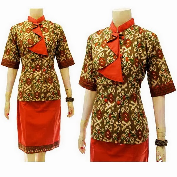 DB3709 Mode Baju Dress Batik Modern Terbaru 2014