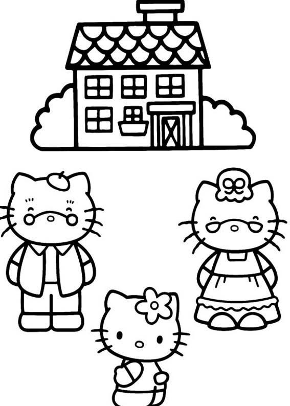 Desenhos Preto e Branco Familia Hello Kitty Colorir