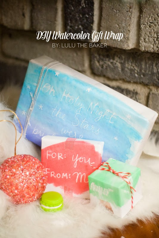 The Party Hop: Handmade Holiday DIY watercolor gift wrap