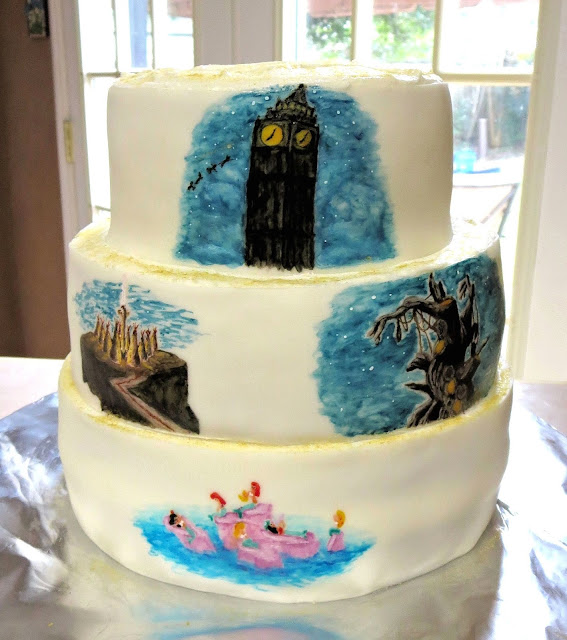 Hand Painted Peter Pan Scenes Cake 5
