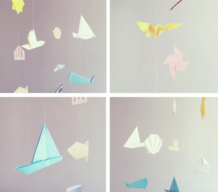movil con origamis