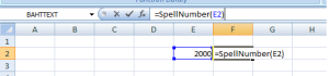 How to convert BAHT TEXT to English in excel