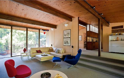 Modern homes los angeles post and beam pagoda zolotow for Mid century post and beam house plans