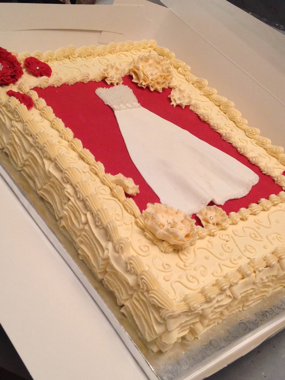 vintage style bridal shower cake 12 sheet cake red velvet cake with cream cheese icing handmade fondant wedding gown and flowers