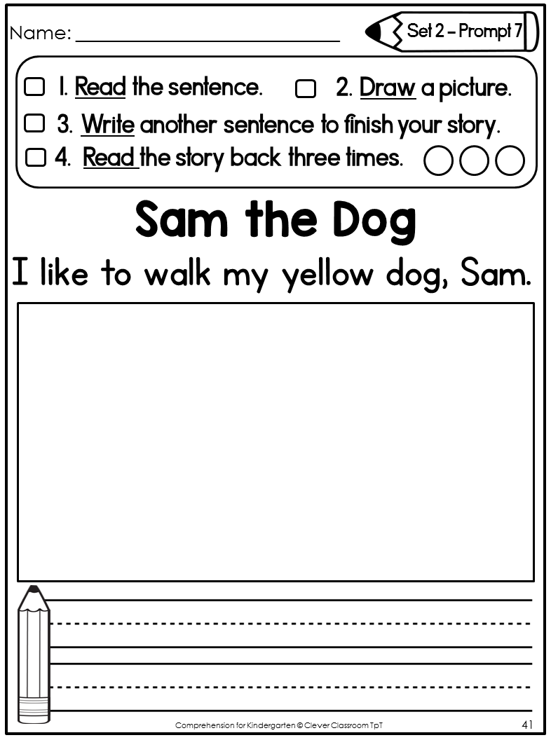 Comprehension for Kindergarten: Differentiated Writing Prompts