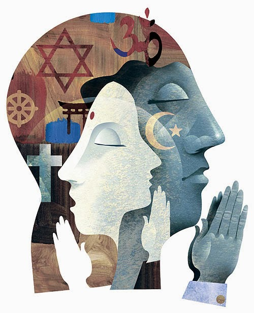Multiple religious signs in praying people's mind
