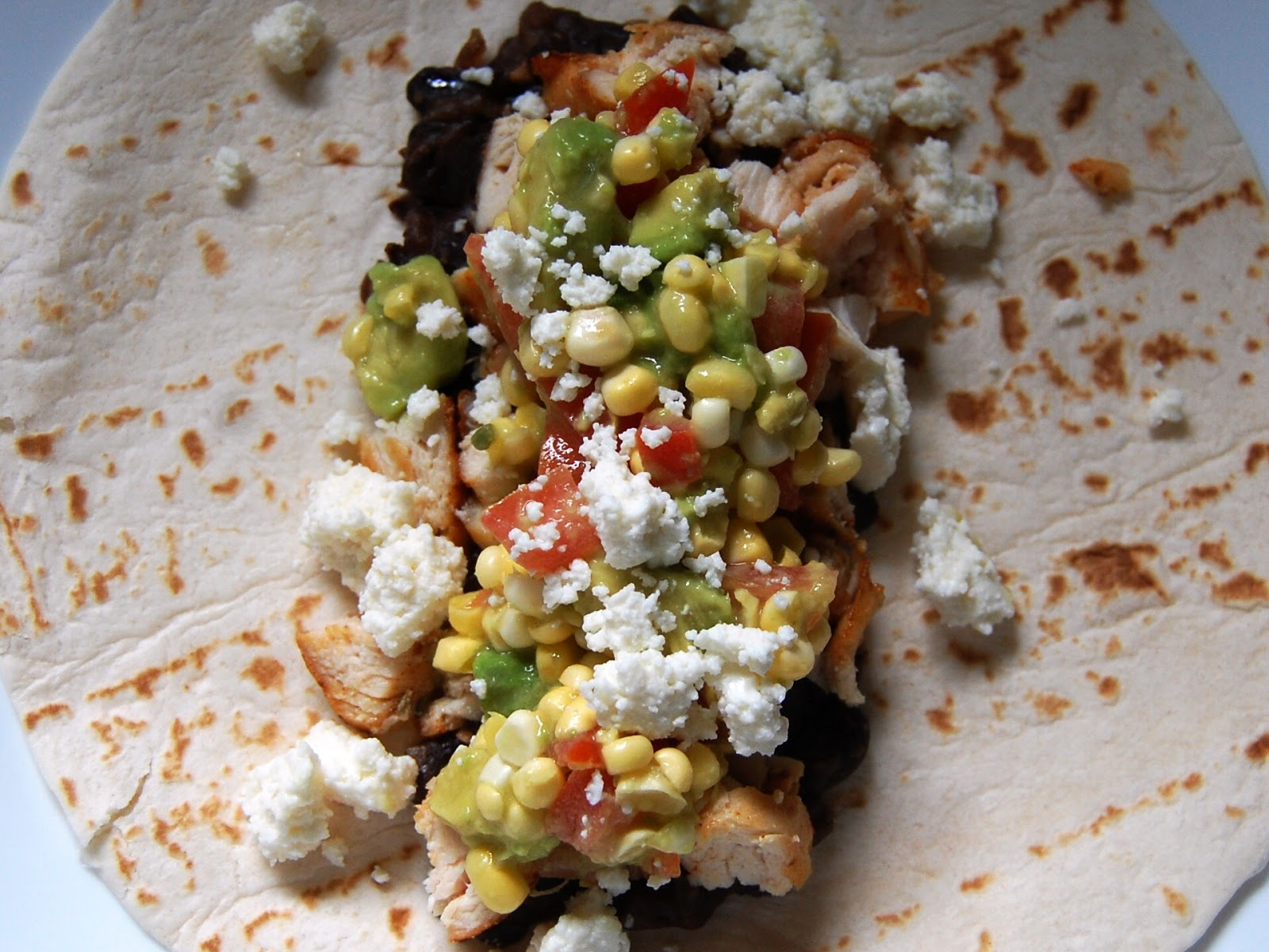 Chicken Tacos with Mashed Black Beans and Avocado-Sweet Corn Relish