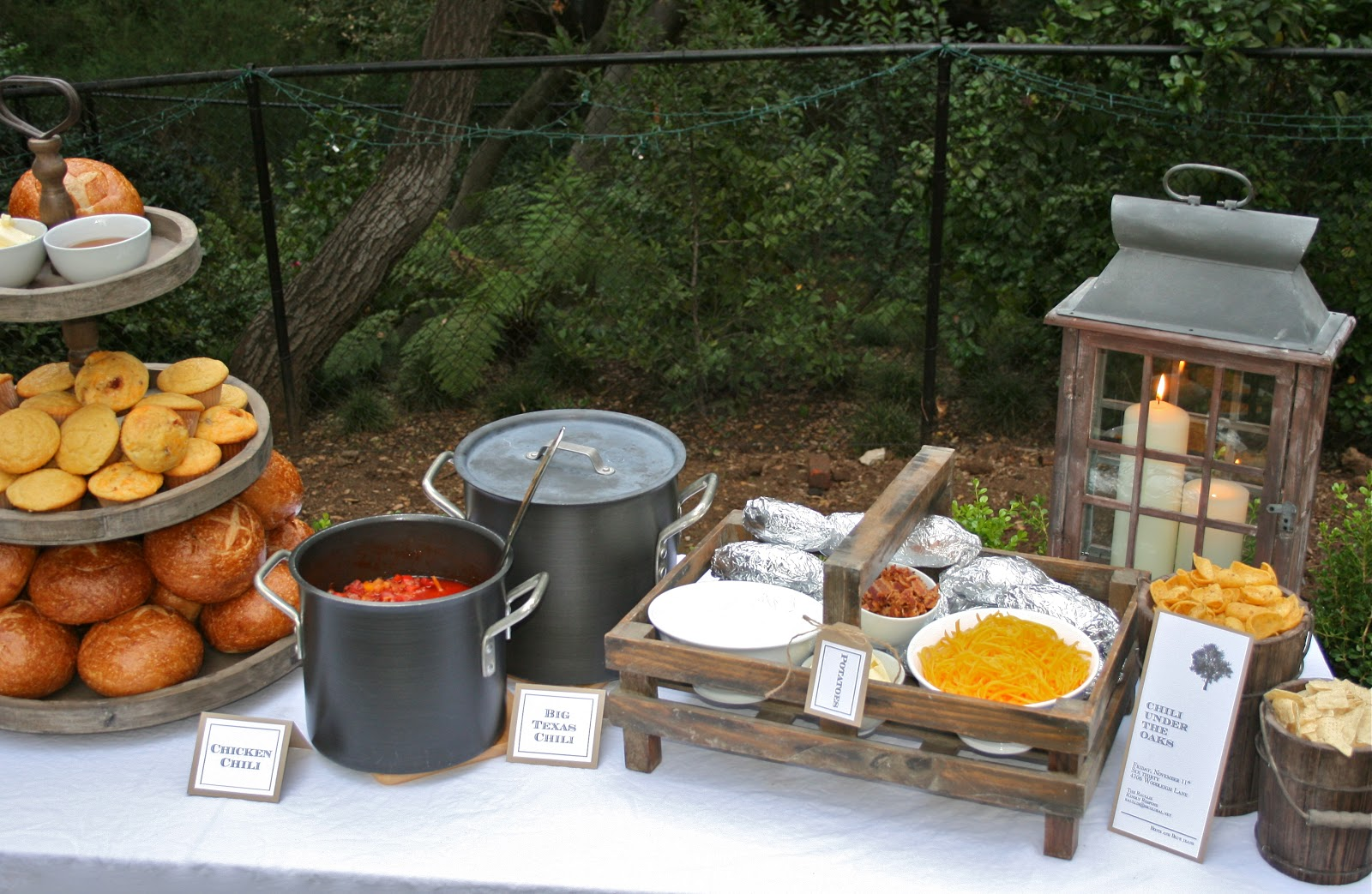 Fall party idea chili under the oaks bloom designs for Food bar ideas for a party