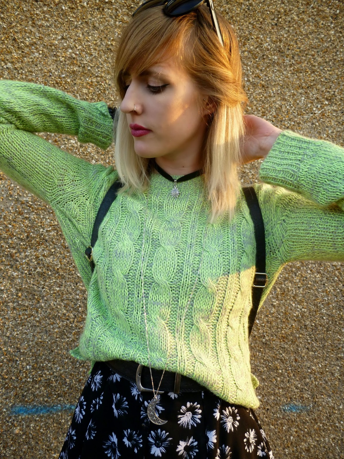 Robots Eating Roses, Vintage Lime Green Jumper