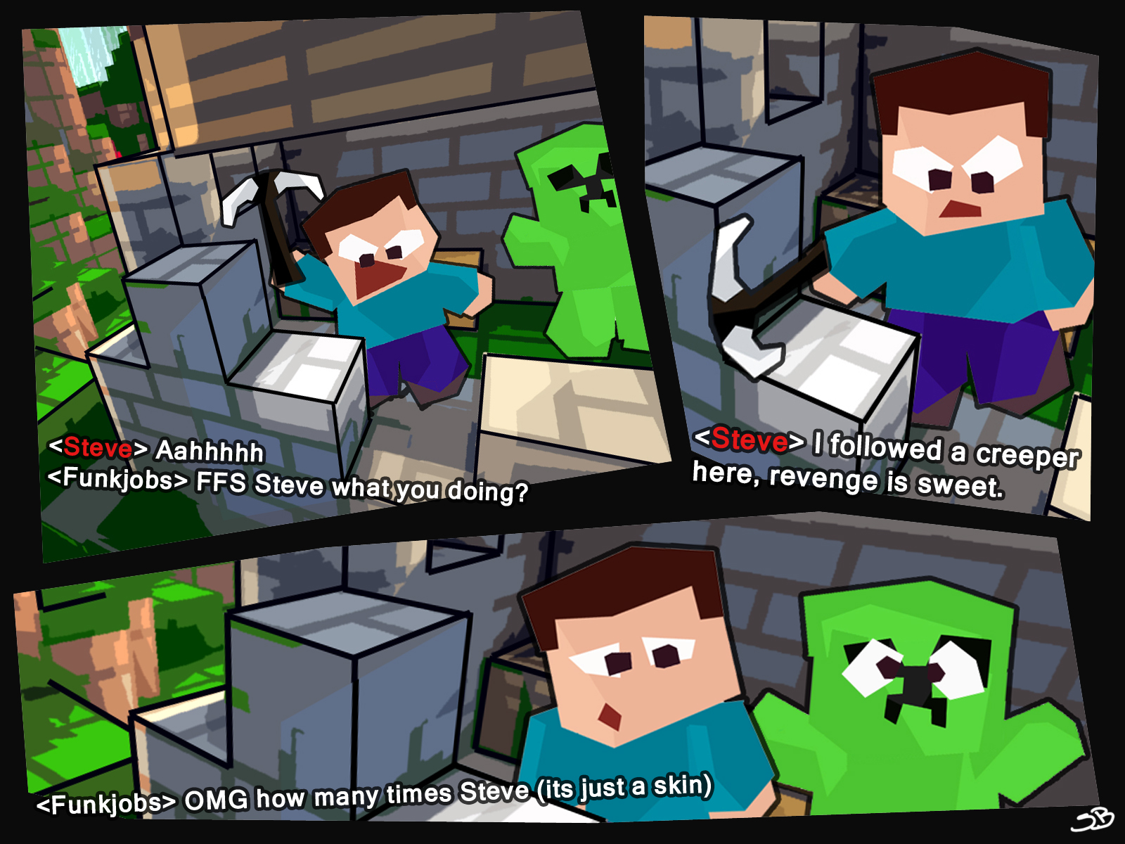 Bored steve minecraft comic grief creeper skin