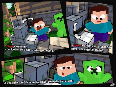 Bored Steve Minecraft Comic Grief Creeper Skin