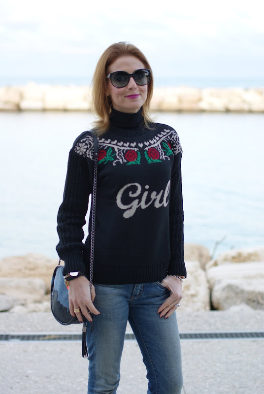river island sweater, Asos girl sweater, skyline round bag
