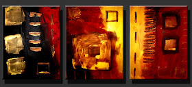 "Abstract Painting  -  ""Red Black Gold"""