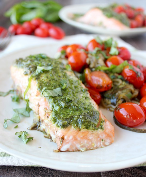Pesto-Baked Salmon and Zucchini Noodles Foil Dinner from Whitney Bond ...