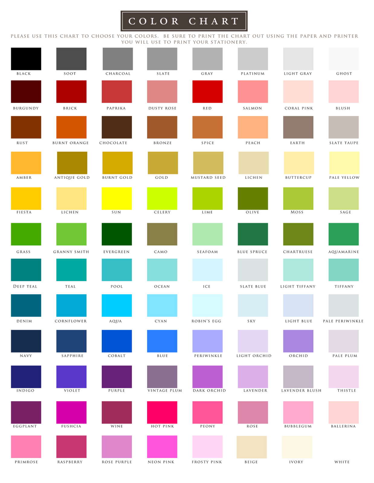 Color printing test - Filename Color Chart1 Png