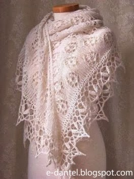 Beyaz İplikten Örülmüş Bayan Şal Modelleri