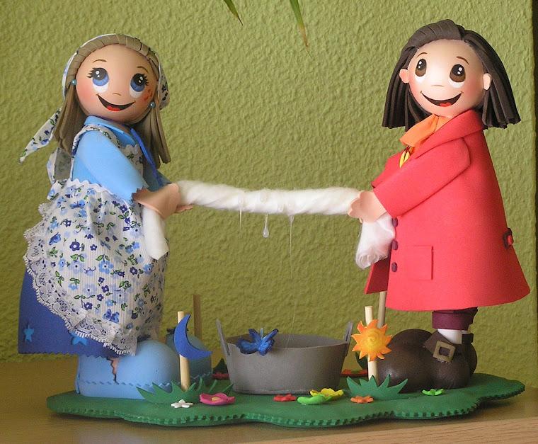 otra pareja de alquimistas, recogiendo el rocio para elaborar las esencias florales.