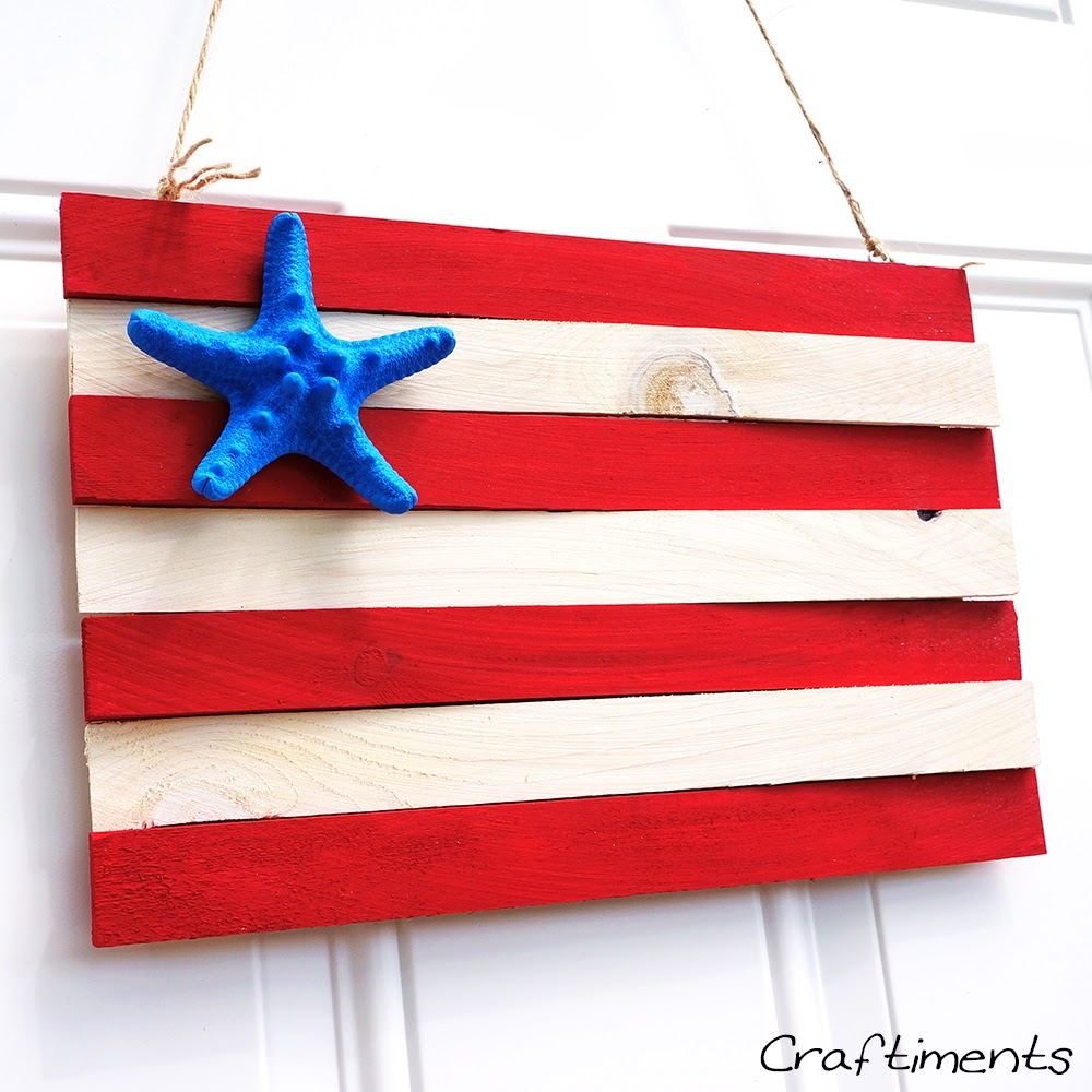 Craftiments:  Patriotic wood shim and starfish flag