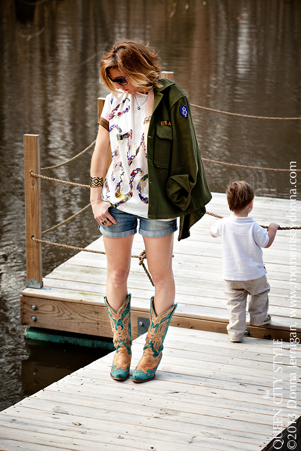 Bauble Bar Boho Drops, Charlotte Fashion Blog, Southern Style Blog, the Queen City Style, Whitley Hamlin Wardrobe Stylist, Corral Boots, Cynthia Rowley, Cuff from Sloan Boutique, Diamonds Direct, Tiffany