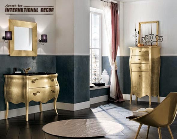 classic bathroom, luxury bathroom, luxury gold bathroom furniture