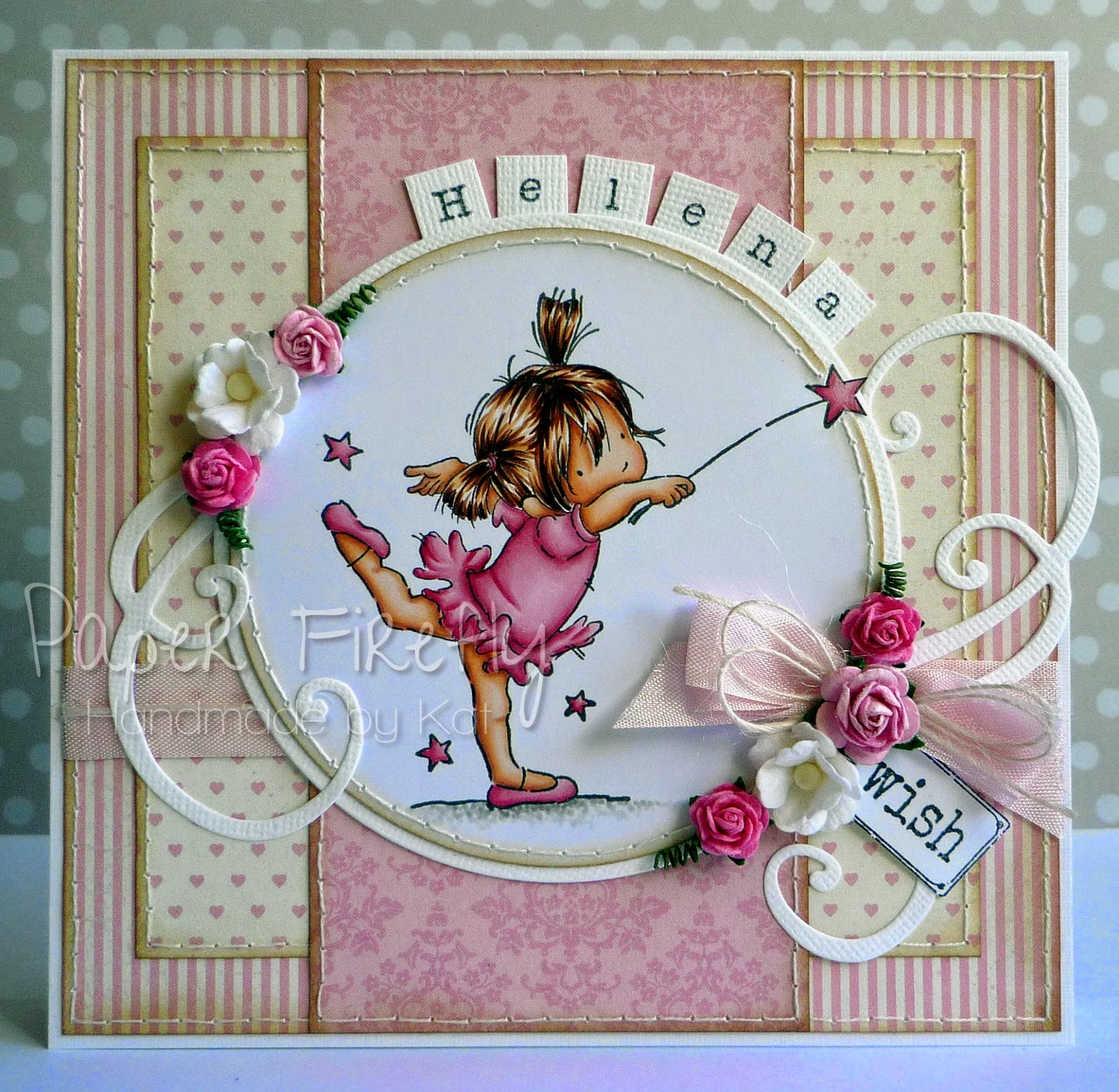 Handmade card; pink and girly featuring a cute ballerina