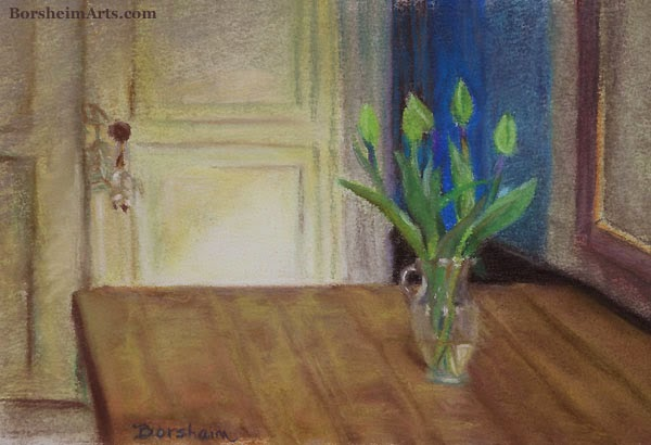 Green Tulips Pastel Painting art drawing on paper, work in progress