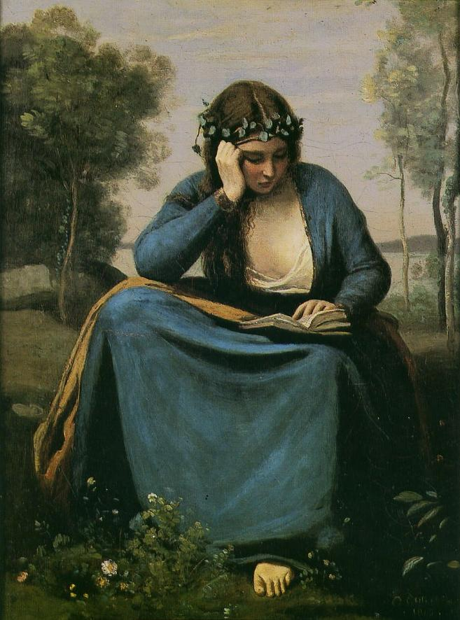 one year one painting a day jean baptiste camille corot and woman reading a book. Black Bedroom Furniture Sets. Home Design Ideas